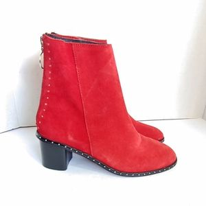 NWT topshop Miranda red suede studded boots